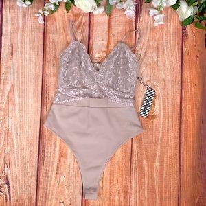 NWT Haute Monde Sexy Pink Lacey Bodysuit 1644